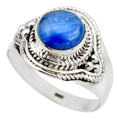 3.50cts natural blue kyanite 925 sterling silver solitaire ring size 7.5 r53437