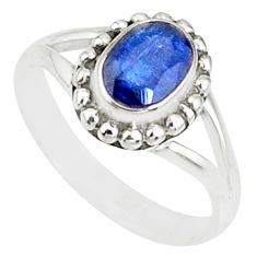 1.57cts natural blue kyanite 925 sterling silver solitaire ring size 5.5 r82166