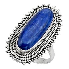 6.32cts natural blue kyanite 925 sterling silver solitaire ring size 7 r47283