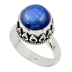 4.92cts natural blue kyanite 925 sterling silver solitaire ring size 7 r48400