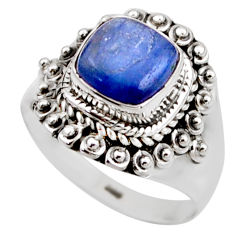 3.35cts natural blue kyanite 925 sterling silver solitaire ring size 7 r53426