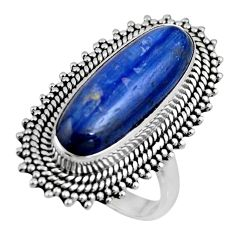 6.87cts natural blue kyanite 925 sterling silver solitaire ring size 7 r53753