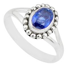 1.54cts natural blue kyanite 925 sterling silver solitaire ring size 7 r82167