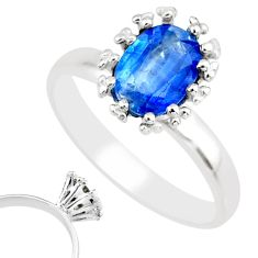 2.23cts natural blue kyanite 925 sterling silver solitaire ring size 7 r82818