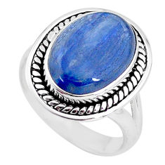 6.04cts natural blue kyanite 925 sterling silver solitaire ring size 7 t2471
