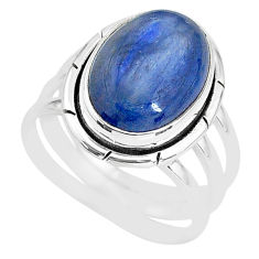 6.83cts natural blue kyanite 925 sterling silver solitaire ring size 7 t2642