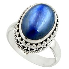 6.32cts natural blue kyanite 925 sterling silver solitaire ring size 8 r22005