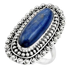 6.64cts natural blue kyanite 925 sterling silver solitaire ring size 8 r47294