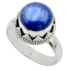 5.30cts natural blue kyanite 925 sterling silver solitaire ring size 8 r48393