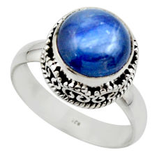 5.30cts natural blue kyanite 925 sterling silver solitaire ring size 8 r49778