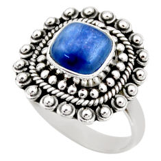 3.16cts natural blue kyanite 925 sterling silver solitaire ring size 8 r53108