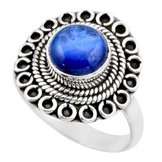 3.01cts natural blue kyanite 925 sterling silver solitaire ring size 8 r53120