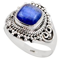 3.19cts natural blue kyanite 925 sterling silver solitaire ring size 8 r53427