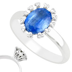 2.10cts natural blue kyanite 925 sterling silver solitaire ring size 8 r82785