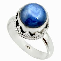5.12cts natural blue kyanite 925 sterling silver solitaire ring size 9 r22001