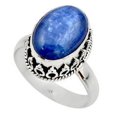 6.77cts natural blue kyanite 925 sterling silver solitaire ring size 9 r48383