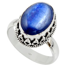 6.57cts natural blue kyanite 925 sterling silver solitaire ring size 9 r48387