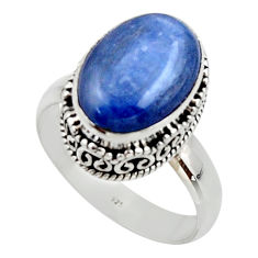 6.80cts natural blue kyanite 925 sterling silver solitaire ring size 9 r48388