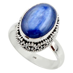6.80cts natural blue kyanite 925 sterling silver solitaire ring size 9 r48391