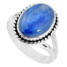 6.32cts natural blue kyanite 925 sterling silver solitaire ring size 9 t2469