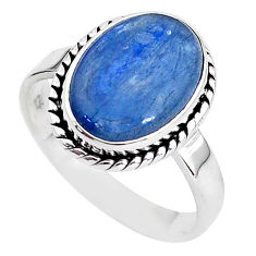 6.10cts natural blue kyanite 925 sterling silver solitaire ring size 9 t2475