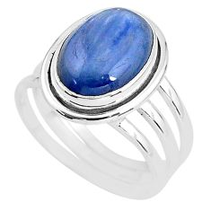 6.57cts natural blue kyanite 925 sterling silver solitaire ring size 9 t2650