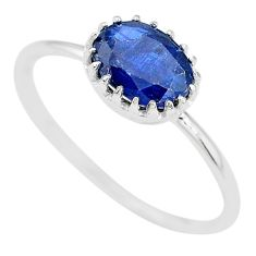 1.85cts natural blue kyanite 925 sterling silver solitaire ring size 9 t8145