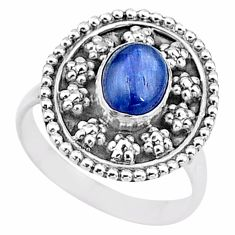 1.92cts natural blue kyanite 925 sterling silver solitaire ring size 7.5 t16027