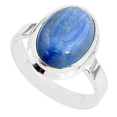 6.28cts natural blue kyanite 925 sterling silver solitaire ring size 7.5 t2467