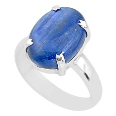 6.95cts natural blue kyanite 925 sterling silver solitaire ring size 6.5 t2653