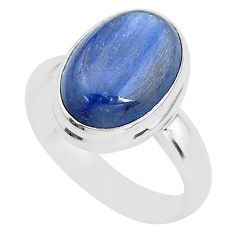 6.04cts natural blue kyanite 925 sterling silver solitaire ring size 7.5 t2655