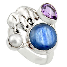 7.40cts natural blue kyanite amethyst 925 silver elephant ring size 6.5 d46060