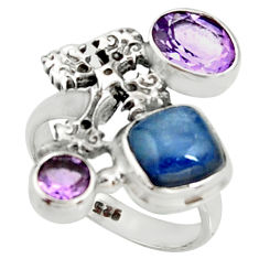 6.54cts natural blue kyanite amethyst 925 silver holy cross ring size 7 r22656