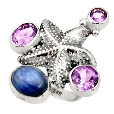 8.67cts natural blue kyanite amethyst 925 silver star fish ring size 8 r22657