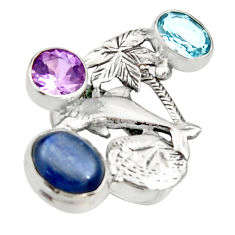 7.37cts natural blue kyanite amethyst 925 sterling silver ring size 7 r22650