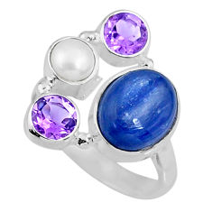 6.02cts natural blue kyanite amethyst 925 sterling silver ring size 7 r57567