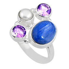 6.27cts natural blue kyanite amethyst 925 sterling silver ring size 7 r57570