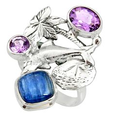 6.76cts natural blue kyanite amethyst 925 sterling silver ring size 8 r22653