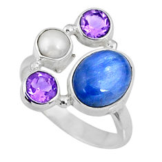 6.36cts natural blue kyanite amethyst 925 sterling silver ring size 8 r57588