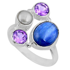 6.47cts natural blue kyanite amethyst 925 sterling silver ring size 8 r57589