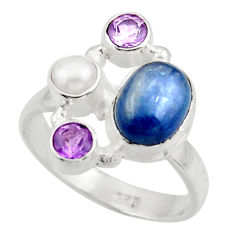 6.15cts natural blue kyanite amethyst pearl 925 silver ring size 8.5 d47499