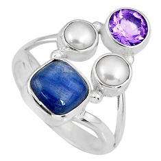 6.31cts natural blue kyanite amethyst white pearl 925 silver ring size 8 r58411