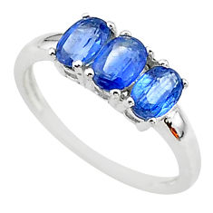 2.74cts natural blue kyanite oval 925 silver 3 stone ring size 8 t14793