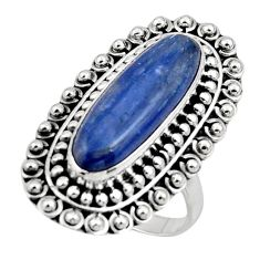 6.05cts natural blue kyanite oval shape 925 silver solitaire ring size 8 r47285