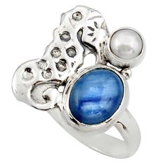 4.93cts natural blue kyanite pearl 925 silver seahorse ring size 7 d46059