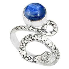 3.01cts natural blue kyanite round 925 sterling silver snake ring size 7 r82585