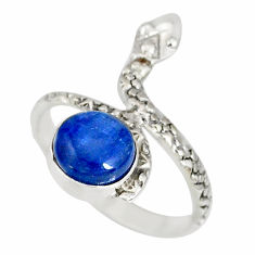 3.13cts natural blue kyanite round 925 sterling silver snake ring size 8 r78692