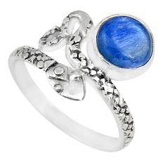 3.32cts natural blue kyanite round 925 sterling silver snake ring size 8 r82584