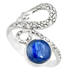 3.10cts natural blue kyanite round 925 sterling silver snake ring size 8 r82587