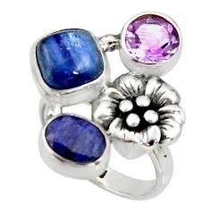 7.32cts natural blue kyanite sapphire 925 silver flower ring size 6.5 r22652